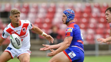 Promising signs: Kalyn Ponga impressed at No.6 in the trial against the Dragons.