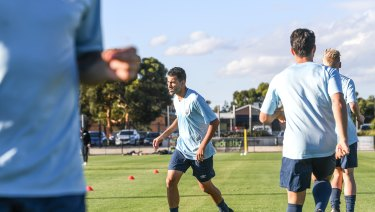 Back in action: A-League hopeful Hakeem al-Araibi is put through his paces at Pascoe Vale training.