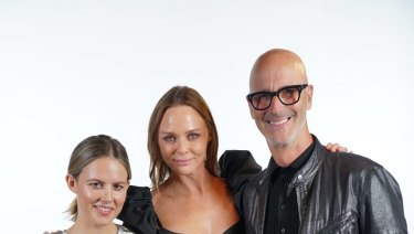 Kirsten Lock (left) and Simon Lock (right) with Stella McCartney.