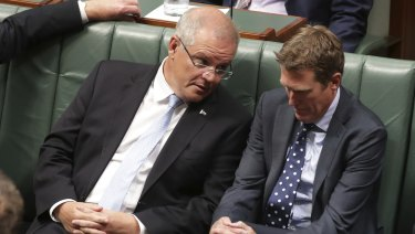 Muddy week: Prime Minister Scott Morrison and Attorney-General Christian Porter in Parliament.