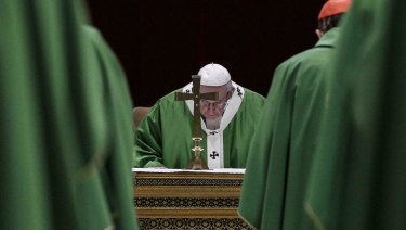 Pope Francis celebrates Mass at the Vatican on Sunday.