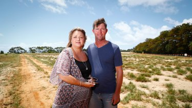 Hayley and James Paddon at the Cudgen Plateau proposed site for the new Tweed Valley hospital.