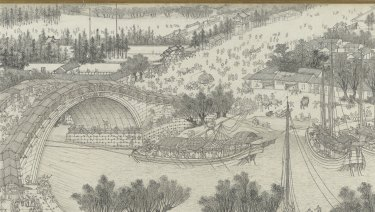 Shen Yuan's Along the river during the Qingming Festival' (detail) from the Qing dynasty.