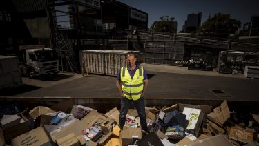 Port Phillip mayor Dick Gross, at his council's South Melbourne waste transfer station on Friday.