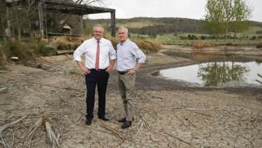 Prime Minister Scott Morrison and Deputy Prime Minister Michael McCormack investigate the drought in Mulloon in October.
