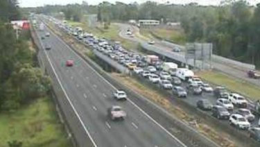 A traffic camera shows the southbound congestion on the Bruce Highway in Burpengary an hour after the crash.