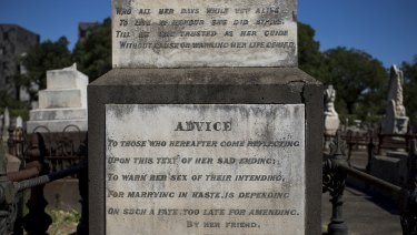 Shamed: The inscription on Emily Mather's grave that warns women not to 'marry in haste'.