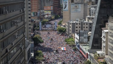 Roger Waters has views on Venezuela too. Opposition supporters attending a rally against Nicolas Maduro.