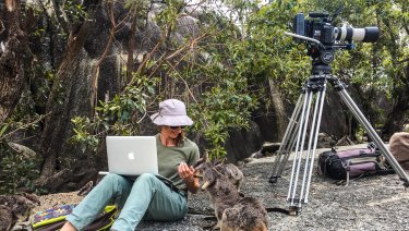 Tosca Looby on location with Mareeba rock wallabies in Queensland's Granite Gorge.
