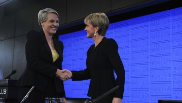 Labor's Tanya Plibersek with Julie Bishop in a National Press Club debate in 2016.