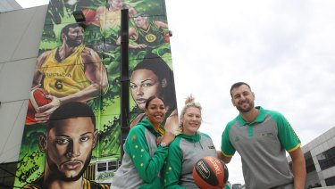 Super stars: Liz Cambage, Lauren Jackson and Andrew Bogut pose in front of a Marvel Stadium mural to promote the 2019 NBL finals.