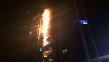 Combustible cladding burns in 2014 at the Lacrosse building in Docklands.