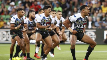 Cultural pride: Indigenous players perform before the All-Stars match.