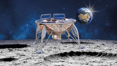 An artist's impression of SpaceIL's lunar lander, Beresheet, landing on the moon.