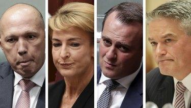 Controversies: Peter Dutton, Michaelia Cash, Tim Wilson and Mathias Cormann.