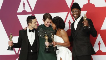 Acting Oscar winners ... Rami Malek (left) with Olivia Colman, Regina King and Mahershala Ali.
