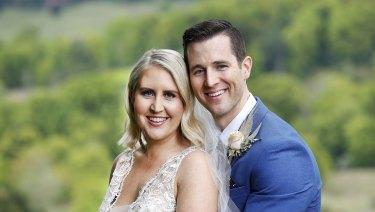 Lauren Huntriss and Matthew Bennett on their MAFS wedding day.