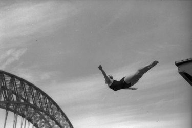 Lynda Adams of Canada competing in the diving event at the Empire Games in 1938.