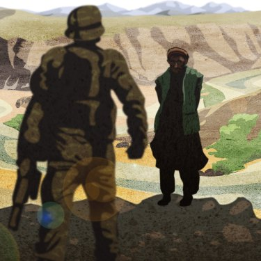 A special forces soldier and his prisoner in Darwan, Afghanistan. Illustration by Matt Davidson based on witness account.
