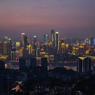 Chongqing – population 30 million – at twilight.