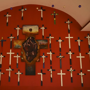 On a chapel wall in shelter La 72 in Mexico, 72 crosses mark the lives lost in a cartel massacre in San Fernando in 2010.