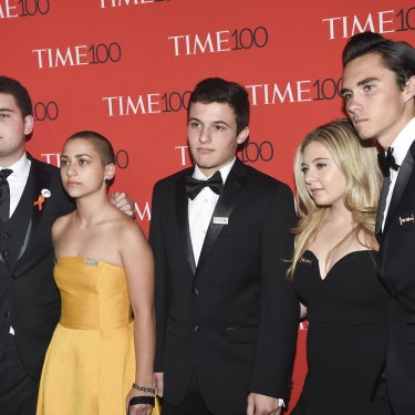 Emma González, in yellow, with fellow Parkland student activists, from left: Alex Wind, Cameron Kasky, Jaclyn Corin and David Hogg, at a New York gala celebrating Time magazine's 100 most influential people in the world last Tuesday.
