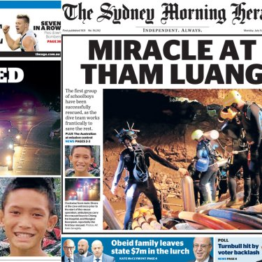 Monday's front pages of The Age and The Sydney Morning Herald.