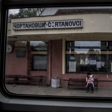 Moving right along: a station en route to Budapest.