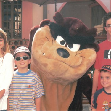 On a family holiday at Movieworld in 2004 (from left) Courtney, Zachary, Brodie and Kris.