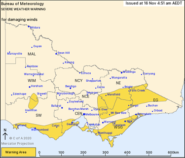 Areas impacted by a severe weather warning for damaging winds on Monday.