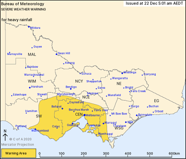 The severe weather warning affected area on Tuesday.