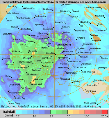 Rainfall totals across Melbourne since 9am Monday.