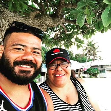 Tolu Latu and his mother Sharon.