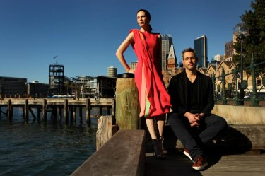 Designer Carl Kapp (right) with model Sarah Birkett wearing one of his designs.