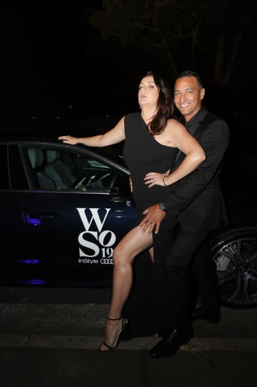 Big star: Celeste Barber hamming it up with Api Robin at the InStyle awards.