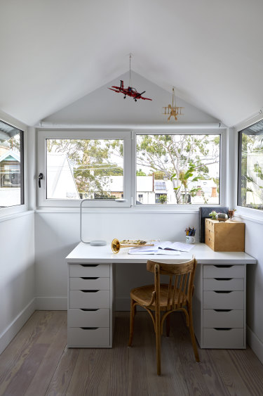 """Finn's bedroom is on the top floor and has a pitched roof with windows on three walls. """"It's a bit like being on the bridge of a ship,"""" says Ruth."""