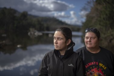 Gundungurra Traditional Owners Kazan Brown (right) and her daughter Taylor Clarke, on land that will be inundated by floodwater at Burnt Flat by the raising of the Warragamba Dam Wall.