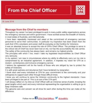 CFA chief fire officer Joe Buffone's message to members.