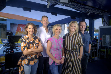 It's been a six month baptism of fire for Brooke Boney, pictured left, with her  Today co-hosts Tom Steinfort, Deb Knight, Georgie Gardner and Tony Jones.