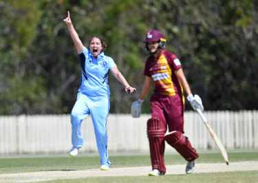 Rene Farrell grabs another wicket for the Breakers in a recent match.