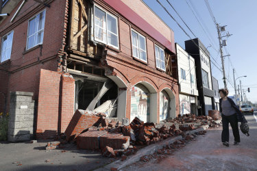 A building in Abira town, near Chitose, Hokkaido, has been badly damaged in a strong earthquake on Thursday.