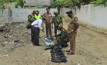 Sri Lankan police displays detonators and other bomb making equipment.