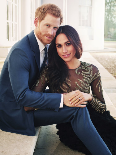 The official engagement photo from December, in which Markle wore a Ralph & Russo gown.