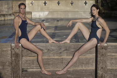 Bronte Campbell with sister Cate.