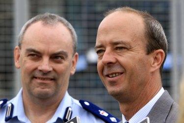 It's a burnout bonanza! Australian Grand Prix Corporation boss Andrew Westacott, right.