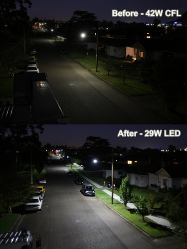 The difference in illumination between LED and non-LED street lights.