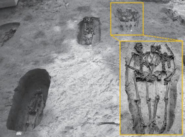 """The burial site near the Italian town of Modena, where the famous """"Lovers of Modena"""" skeletons are buried."""
