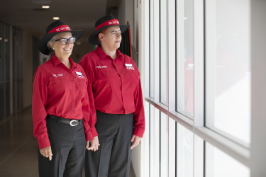 CMET customer service officers Nicola Snow and Tina Colling, pictured above, show off the new uniforms