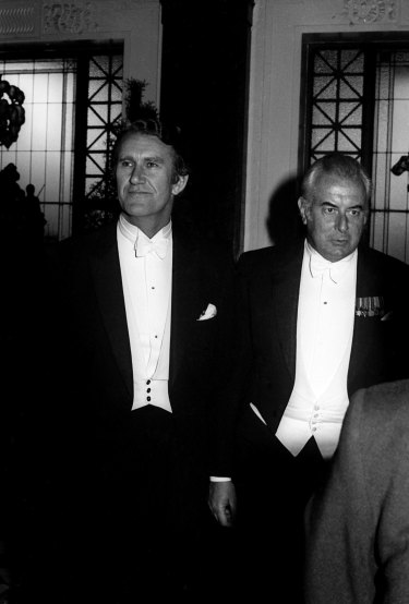 Malcolm Fraser and Gough Whitlam at the Lord Mayor's dinner in Melbourne.