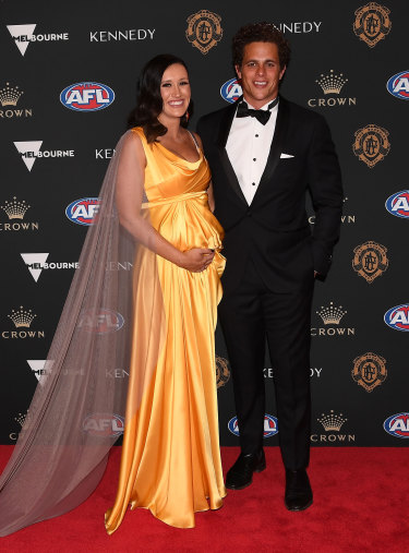 Ed Curnow of the Blues and Emily Curnow arrive